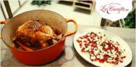 pollo con granada y queso feta